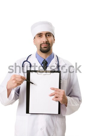 Stock fotó: Mutat · recept · portré · orvos · üres · papír · kezek