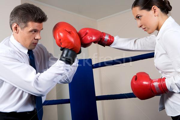 Konfliktus portré agresszív üzletember boxkesztyűk harcol Stock fotó © pressmaster