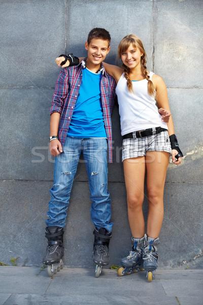 молодой даты пару счастливым глядя камеры Сток-фото © pressmaster