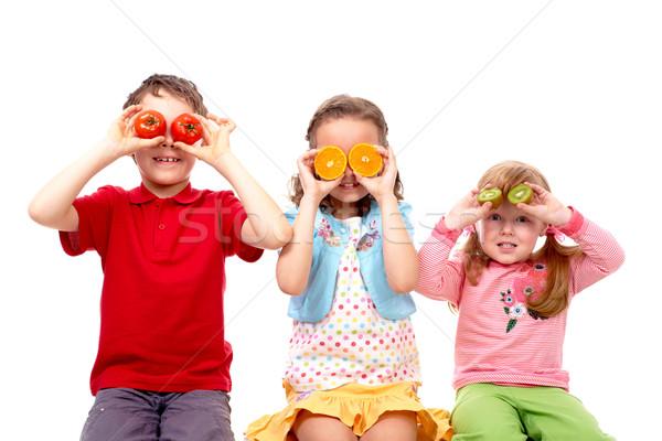 Foto stock: Saudável · crianças · retrato · três · amigos · legumes