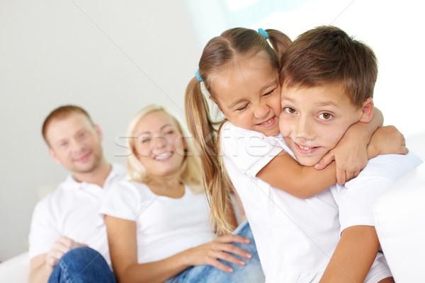 Stretto ritratto felice bambini genitori Foto d'archivio © pressmaster
