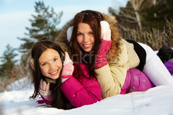 Girls in snowdrift Stock photo © pressmaster