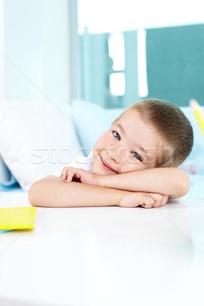Adorable chico sonriendo nino mirando cámara Foto stock © pressmaster