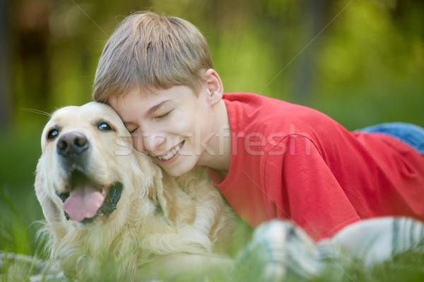 献身的な 友達 肖像 幸せ 若者 優しい ストックフォト © pressmaster