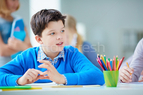 Stock photo: Schoolboy at lesson