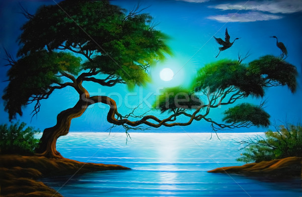 Fantasia quadro árvore costa céu água Foto stock © pressmaster