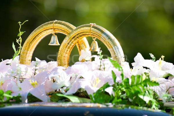 Stock fotó: Jegygyűrűk · közelkép · nagy · esküvő · arany · gyűrűk