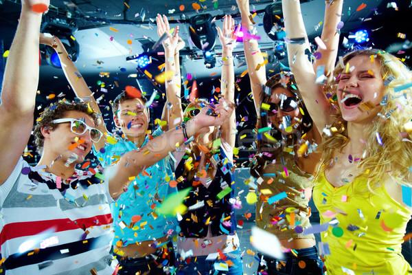 Szórakozás fotó izgatott tinédzserek konfetti karok Stock fotó © pressmaster
