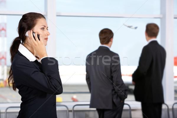 Expectativa sócio imagem empresária chamada telefone Foto stock © pressmaster
