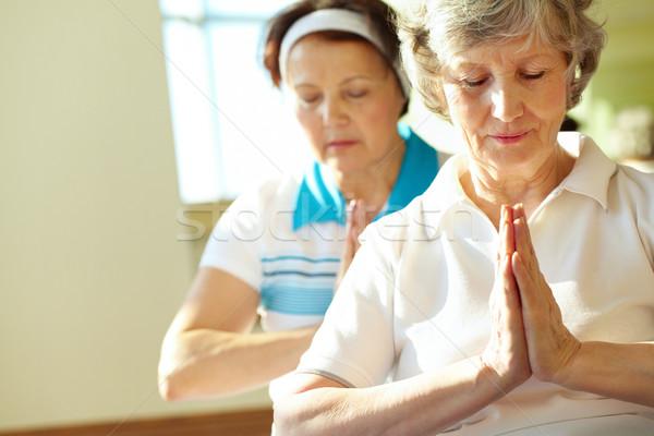 Foto stock: Sereno · mujeres · retrato · dos · yoga