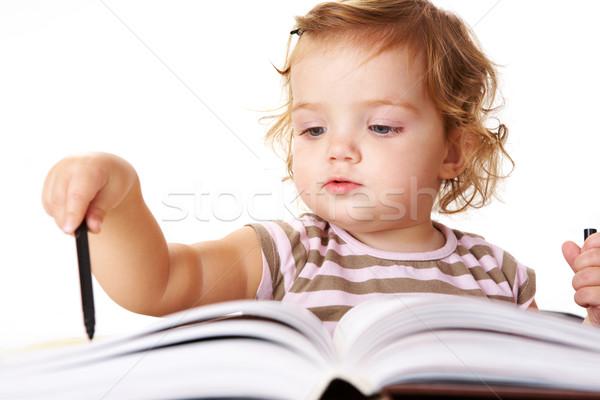Bonitinho leitor foto adorável menina preto Foto stock © pressmaster