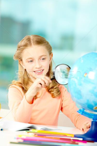 Zdjęcia stock: Patrząc · świecie · portret · cute · uczennica · szpieg