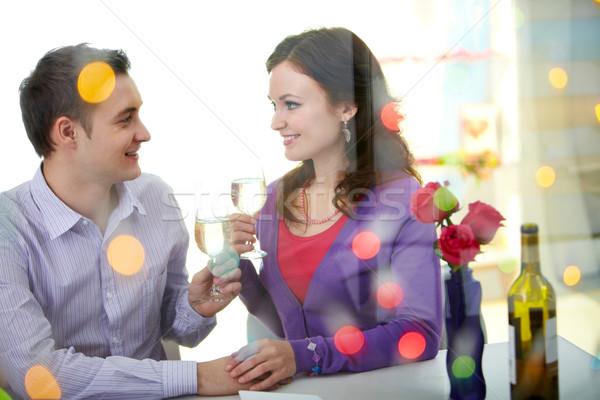 Photo stock: Restaurant · jeunes · heureux · couple · séance