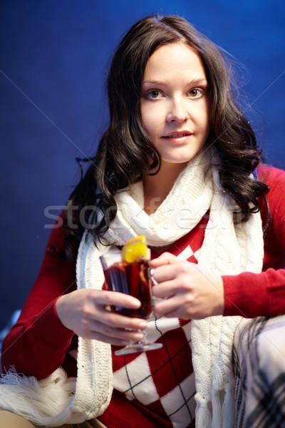 Kellemes idő portré csinos női tea Stock fotó © pressmaster