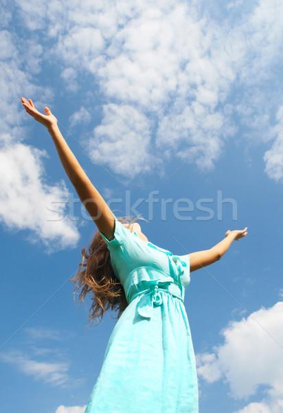 Stock fotó: Kép · boldog · női · áll · kiemelt · karok