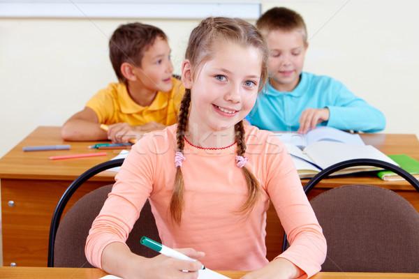 Fiatalos portré lány munkahely diák oktatás Stock fotó © pressmaster