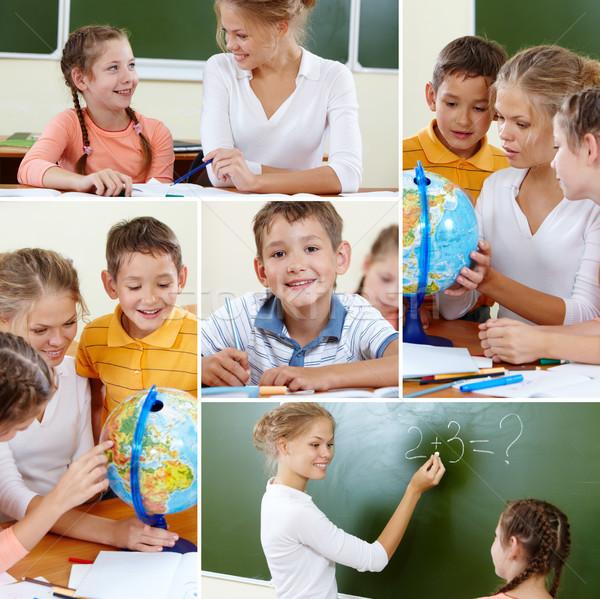 Foto d'archivio: Scuola · collage · cute · insegnante · lezione