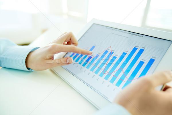 Annuale relazione competente manager schermo computer Foto d'archivio © pressmaster