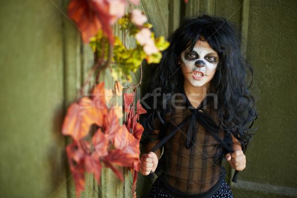 мало ведьмой портрет Хэллоуин девушки пугающий Сток-фото © pressmaster