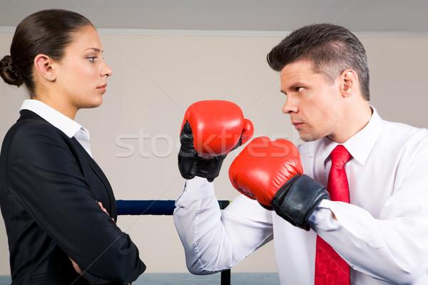 Verekedés portré agresszív üzletember boxkesztyűk harcol Stock fotó © pressmaster