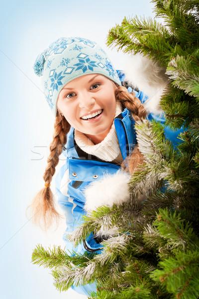 Kış portre genç güzel kadın noel ağacı ağaç Stok fotoğraf © pressmaster