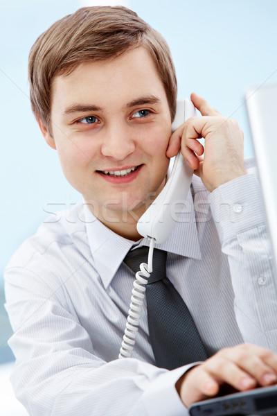 Gülen ajan portre ofis telefon Stok fotoğraf © pressmaster