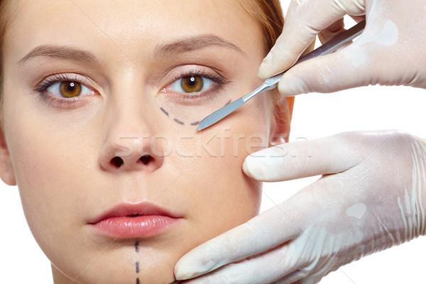Műtét friss nő rajzolt arc műanyag Stock fotó © pressmaster