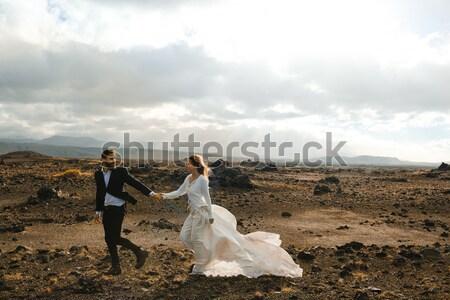 Stockfoto: Bergen · foto · zakenman · pak · helpen · vrouw