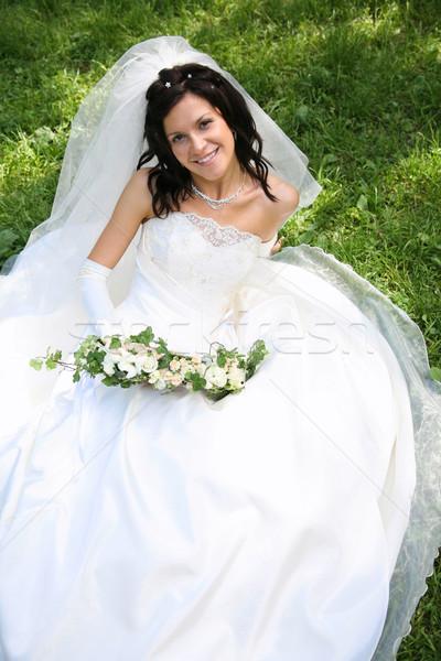 Bride on the grass Stock photo © pressmaster