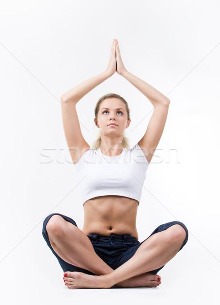 Forrás energia fotó meditál nő ül Stock fotó © pressmaster