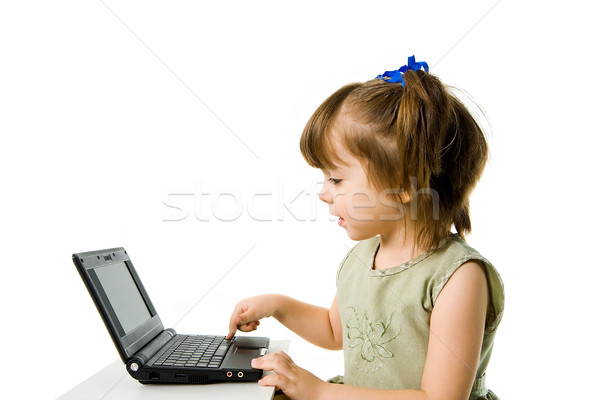 Foto stock: Ordenador · trabajo · foto · inteligentes · preescolar · empujando