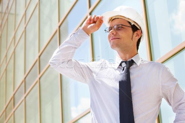 Retrato casco tocar negocios construcción moda Foto stock © pressmaster