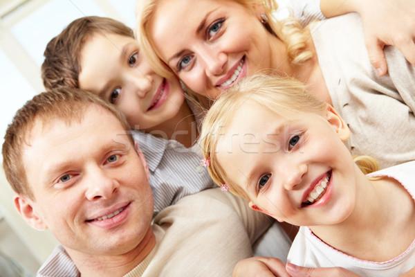 Imagine de stoc: Portret · familie · zâmbitor · patru · fată