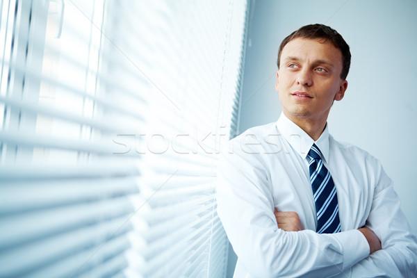 Foto stock: Homem · janela · retrato · empresário · olhando · negócio