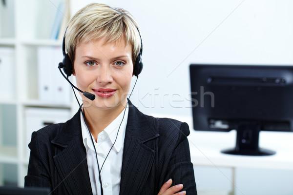 Mooie receptionist portret klantenservice exploitant hoofdtelefoon Stockfoto © pressmaster