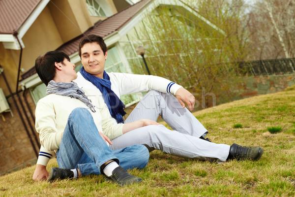 Sitting on gassy slope Stock photo © pressmaster