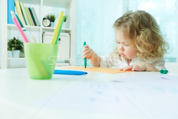 Pracowity dziecko rysunek domu Zdjęcia stock © pressmaster