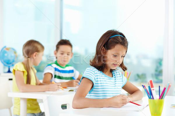 школьница урок портрет Cute девушки рисунок Сток-фото © pressmaster