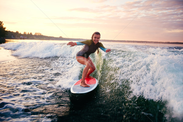 Female surfboarder Stock photo © pressmaster