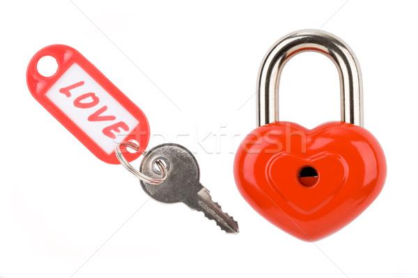 Foto stock: Amor · foto · candado · clave · etiqueta · blanco