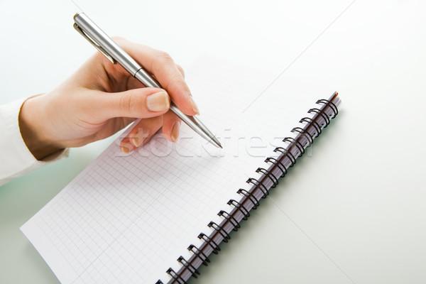 Stock fotó: írott · munka · kép · kéz · toll · jegyzettömb