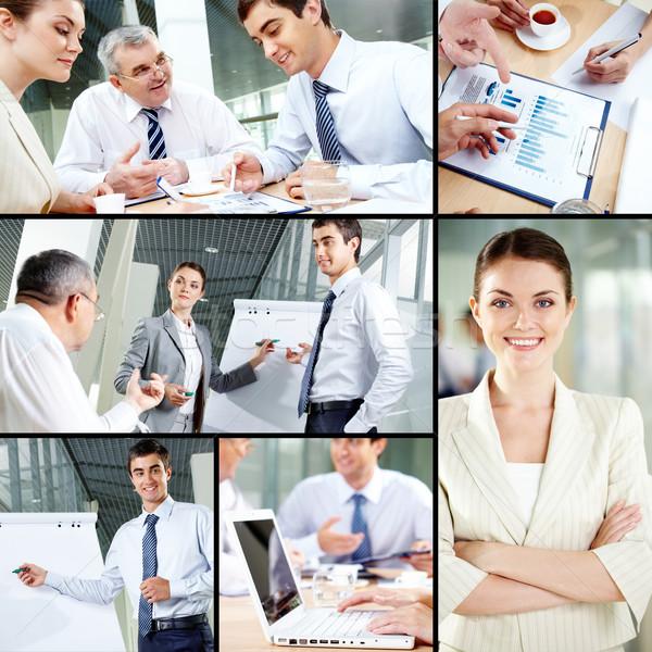 Foto stock: Pessoas · de · negócios · colagem · trabalhar · papel · laptop