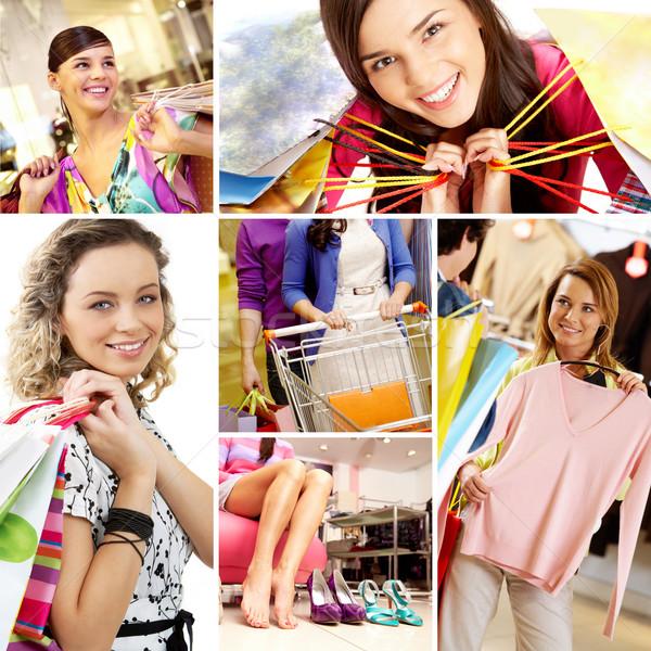 Stock fotó: Vásárlás · kollázs · képek · fiatal · női · nő