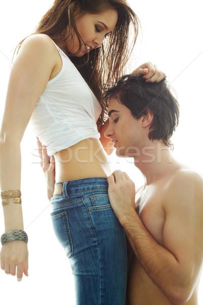 Intimitás portré fiatalember néz barátnő fiatal Stock fotó © pressmaster