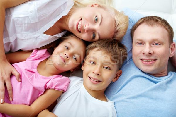 Stock fotó: Pihen · család · boldog · család · négy · otthon · lány