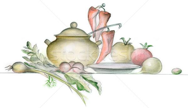 精進料理 画像 異なる 食器 白 食品 ストックフォト © pressmaster