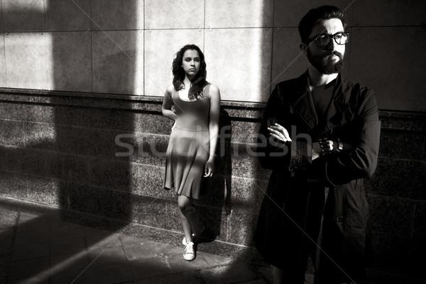 Gece yarısı çift portre adam silah Stok fotoğraf © pressmaster