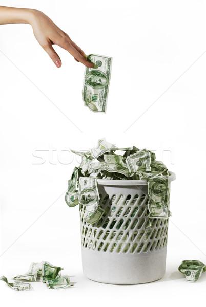 ストックフォト: お金 · 写真 · ゴミ · バケット · 手 · ドル