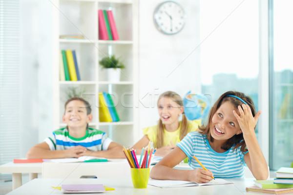 счастливым урок портрет Cute девушки два Сток-фото © pressmaster