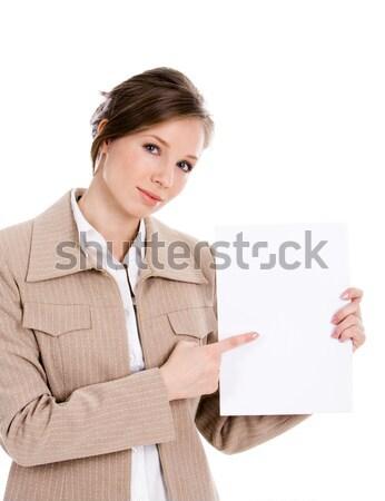 Stok fotoğraf: Dikkat · portre · akıllı · işkadını · boş · kağıt · levha